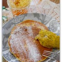【スパイス大使】かぼちゃのパンケーキかぼちゃクリーム添え