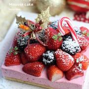 イチゴとブラックベリーのX'masムースケーキ