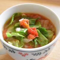 レタスとトマトのおかずスープ【ぐんまクッキングアンバサダー】レタスは煮ない!シャキシャキを楽しむスープ。