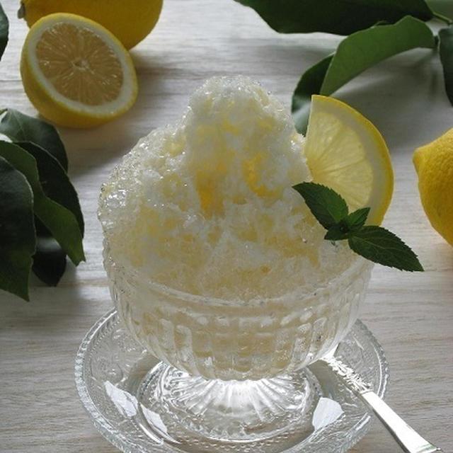 はちみつレモンのかき氷 & 我が家の庭のちびレモン♪