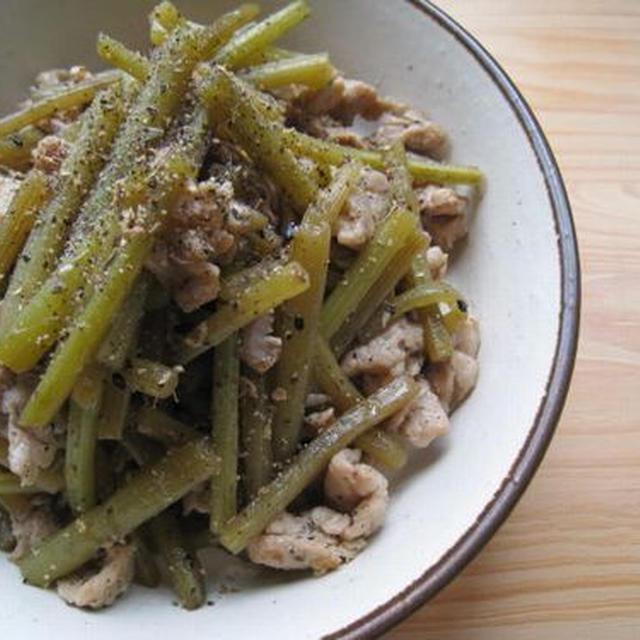 ふきと塩麹豚の炒め物