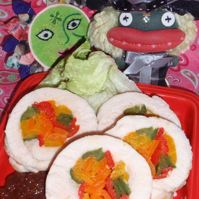 バレンタインのロールチキン&キャベツとハムの胡麻ドレサラダ(お家カフェ)