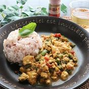 レンジで簡単☆お豆腐とインゲンのヘルシーカレー