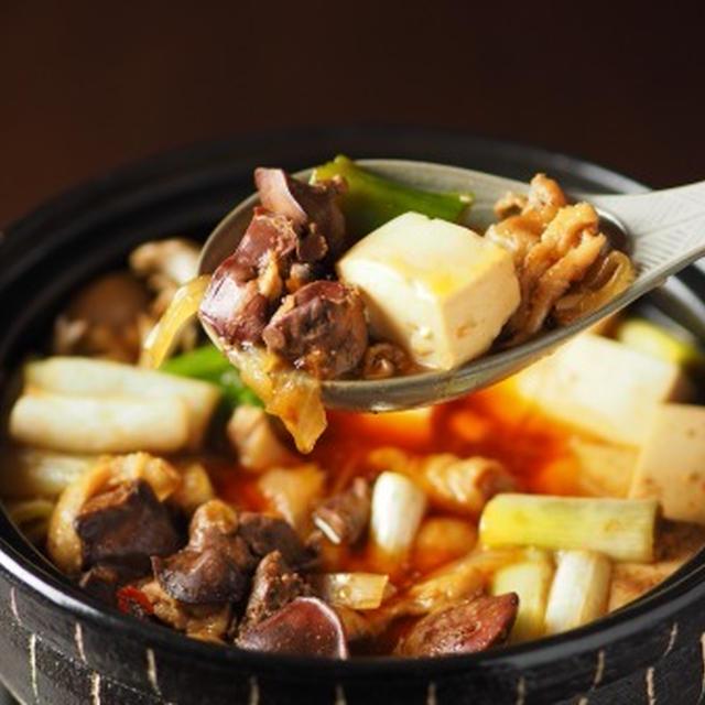 鶏レバーと鶏皮のすき焼き鍋 鶏レバーがふっくら柔らかで旨味たっぷりです。