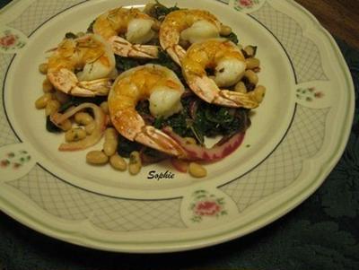 海老のグリル・白金時豆と緑野菜添え