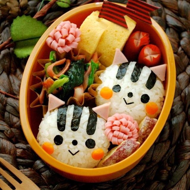 秋の簡単キャラ弁☆白リスおにぎりの作り方(初級)