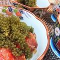 簡単★プチプチ食感★やみつき【漬マグロの海ぶどうのせ】