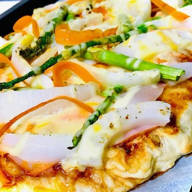 おうち時間☆ランチに春野菜で♬大型ピザ