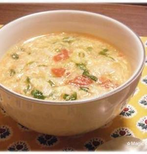 トマト入りサンラータン風スープかけごはん