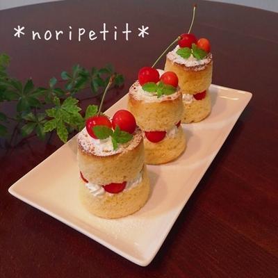 ノンオイル♡紙コップお豆腐シフォンdeさくらんぼショート♡
