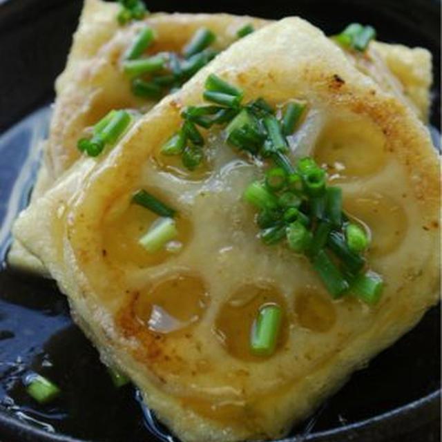 れんこんサンドの揚げ出し豆腐風