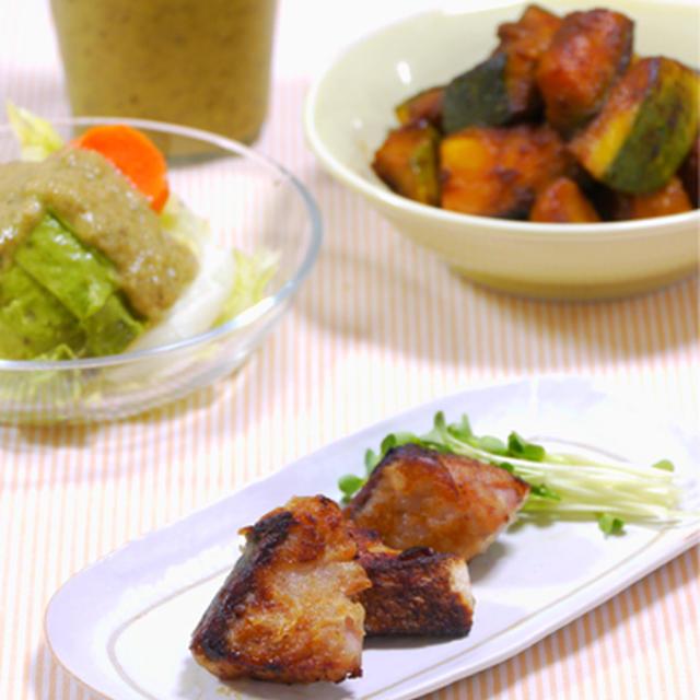 ブリのふっくら味醂揚げ焼き。 と、野菜ドレッシングのサラダで晩ご飯。