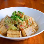 かにかまの磯辺揚げと焼き豆腐のあんかけ♪ニッスイレシピ