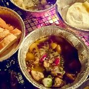私のキャンプめし☆タコとマッシュルームのアヒージョとチーズフォンデュ