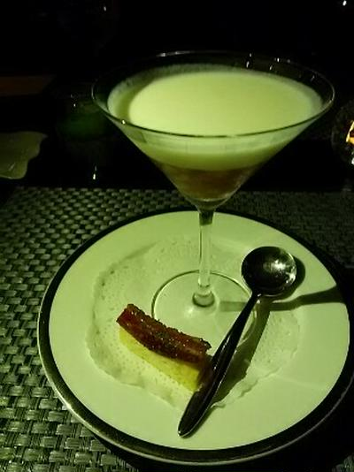 文月・天空のレストラン 3:ベーコンを纏う冬瓜の冷製スープ