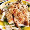鶏もも肉とキャベツのフライパン蒸し(動画レシピ)/Steamed chicken and cabbage .