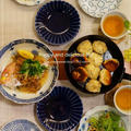 染め付け皿で海老の焼き小龍包の晩ごはん〜☆