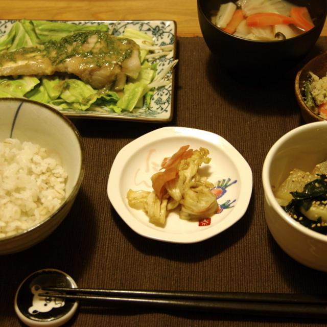 蒸し野菜と酒蒸し鱈の大葉味噌たれ夜ご飯