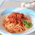 トマト缶でミートスパゲティ☆隠し味はカレー粉としょうゆ♪