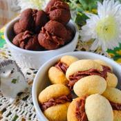 まんまるバニラクッキーのチョコサンド