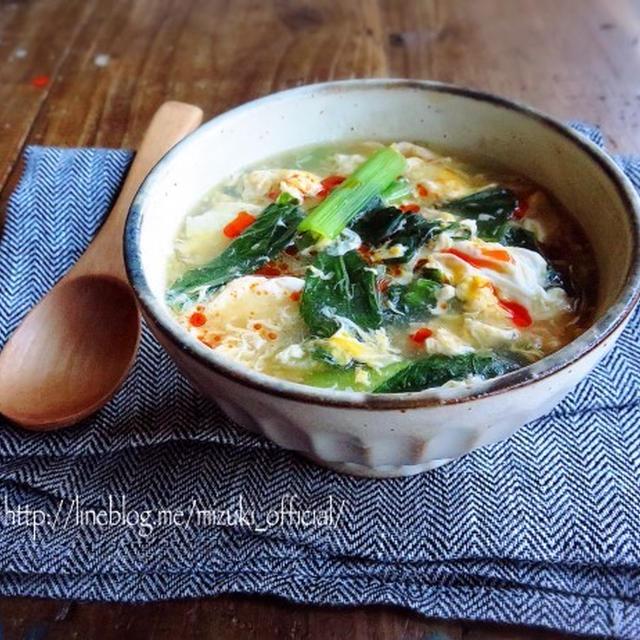♡超簡単おかず系♡小松菜と玉子のふわとろスープ♡【#朝食#時短#栄養満点】