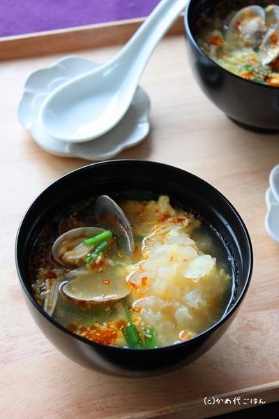 白きくらげとあさりのピリ辛スープ & 玄関の三和土の開運掃除!