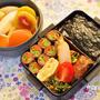海苔弁に、鰤の竜田焼きやいんげんと人参の肉巻きで、和のお弁当