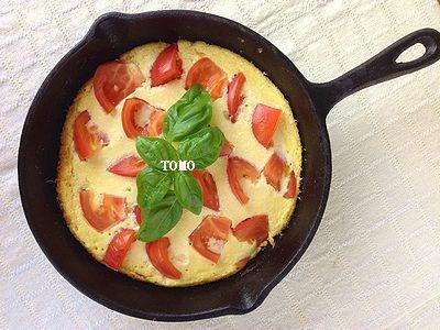 ヘルシー♪お豆腐とトマトのオープンオムレツ