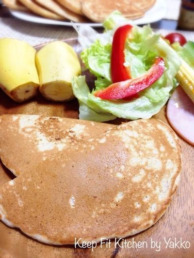 【ノンオイルレシピ】卵乳製品不使用♪もっちりパンケーキ