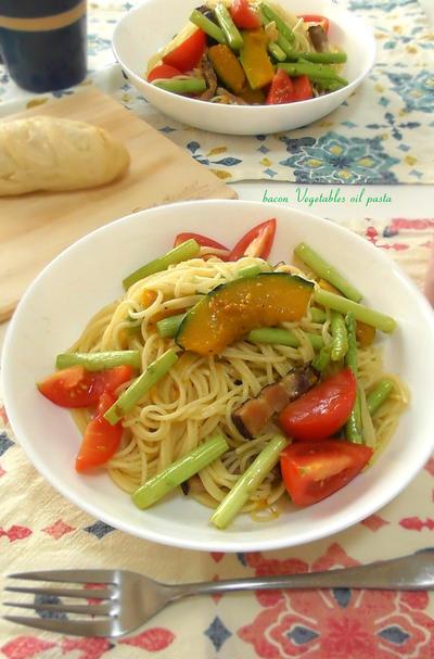 見た目よりも結構こってり!?自家製ベーコンと焼き野菜のパスタ