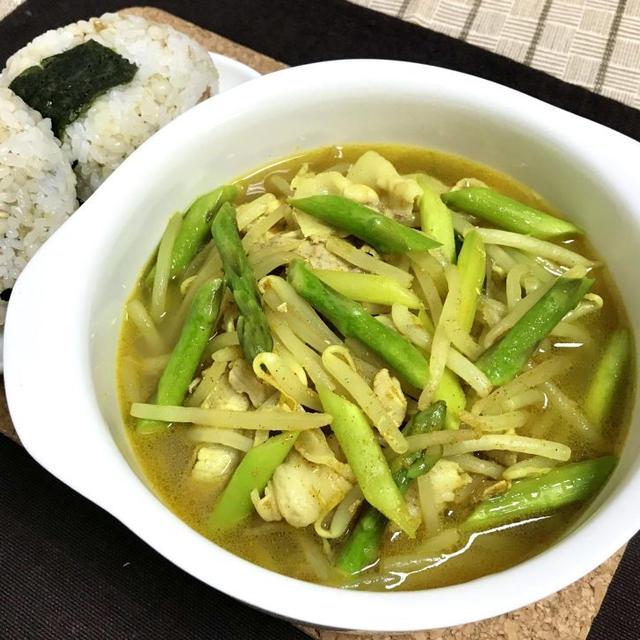 レンジで簡単豚肉もやしアスパラのカレースープ