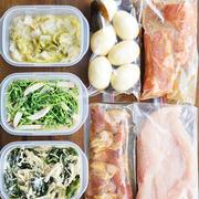 今週前半用の作り置き~半調理(下ごしらえ)の肉料理3品・ゆで卵の昆布醤油漬けなど副菜4品)