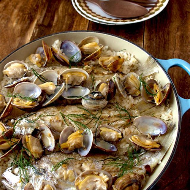 キッチンガーデンハーブで!!白身魚とあさりのパエリア