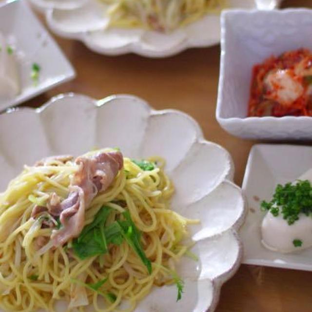 豚バラと水菜のネギ塩焼きそば(レシピあり)。むちむちの頃。
