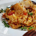 +*香りソルトガーリック&オニオンで簡単トマトと蛸の炒めご飯+*