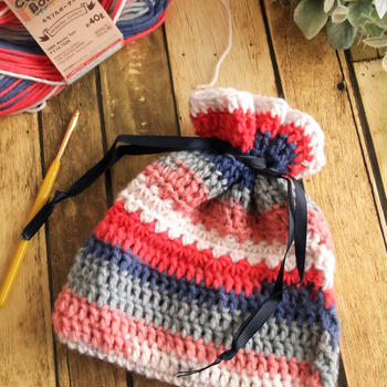 ダイソーの毛糸で手作り小物!かぎ針編みの巾着