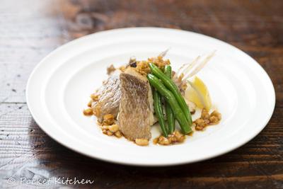 鯛のパリパリソテーナッツソース