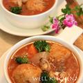 ボリューム満点鶏生姜ボールがゴロゴロ アサリのトマトスープ