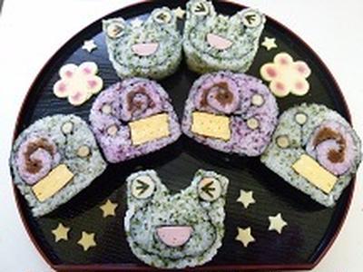 飾り巻き寿司 カエルとカタツムリ 赤と緑!!