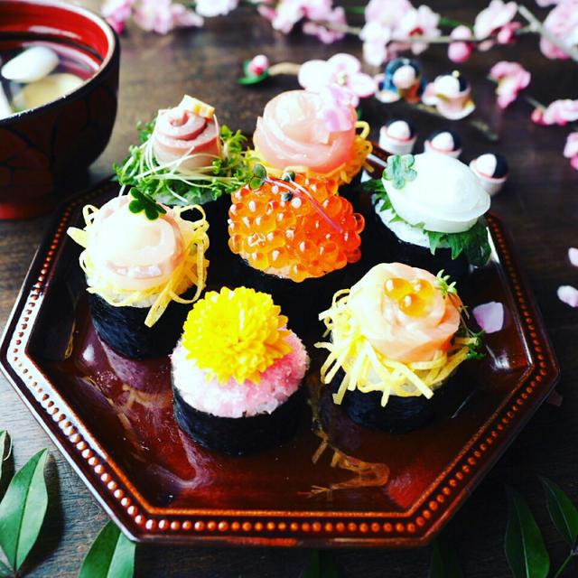 ひな祭りに♪のっけるだけでめちゃ簡単♪かくれんぼのっけ巻き寿司♪