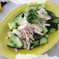 蒸し鶏とたたききゅうりの塩レモン