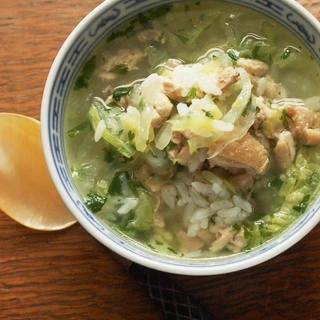 鶏と白菜の塩雑炊