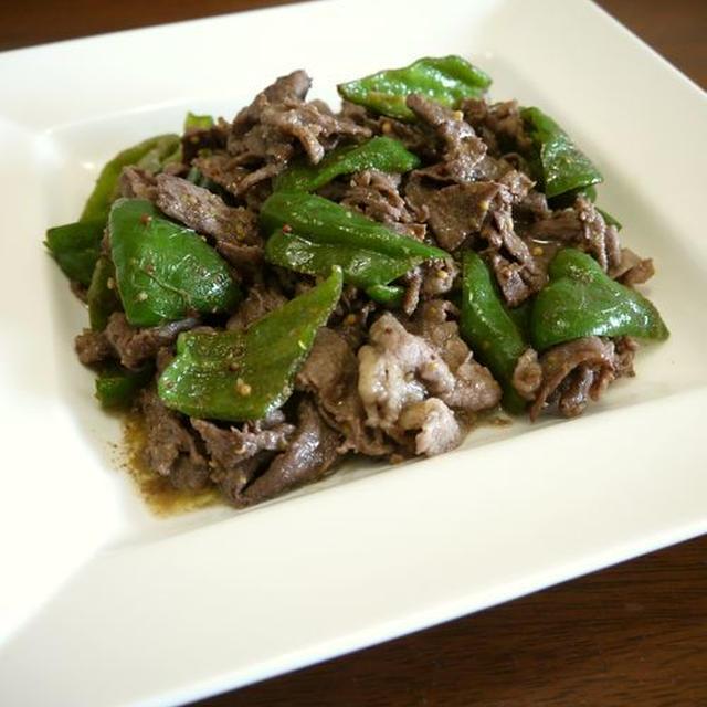 【簡単レシピ】牛肉とピーマンの粒マスタードソース炒め♪