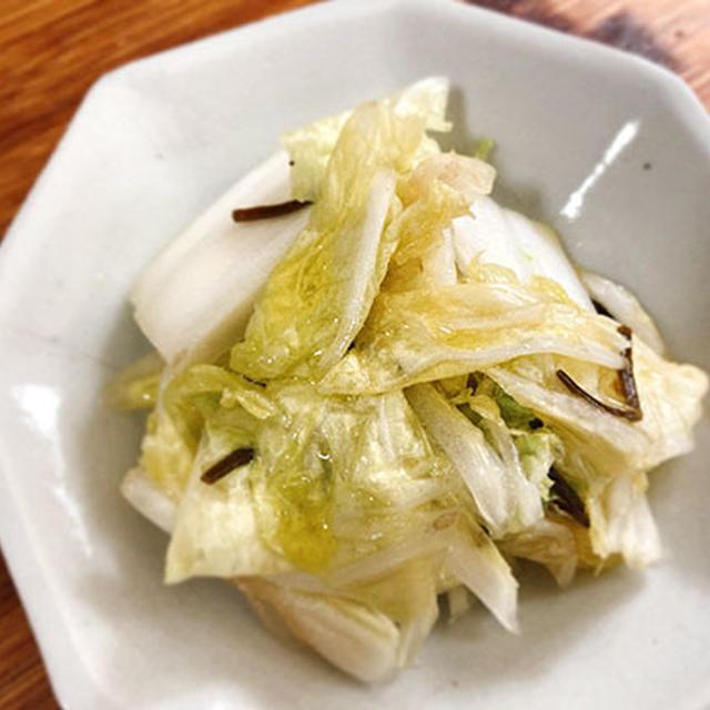 白菜の即席漬にオリーブオイルをたらり