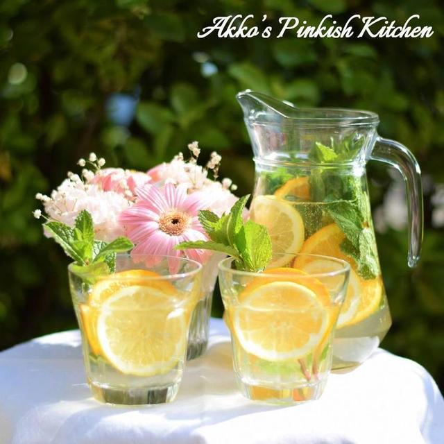 【メディカルハーブ】デトックスウォーター(ミント・レモン・オレンジ)ガーデンパーティードリンク♪
