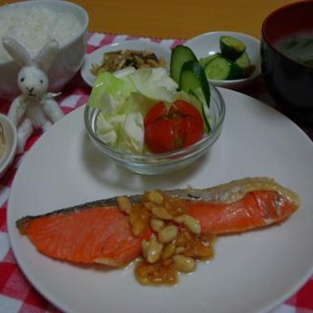鮭のさっぱり柿の種ソース☆