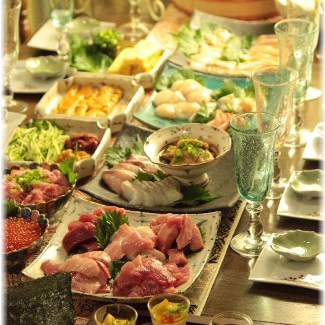 サラダ茶碗蒸し。 と 手巻き寿司大会(?)の献立。