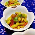 小松菜の茎と大豆のオイスターソース炒め