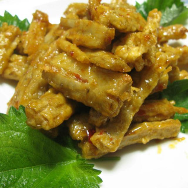 ゴボウのピリ辛炒め(レシピ)
