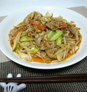 炒めミックス野菜de豚バラ肉と野菜のピリ辛味噌炒め♪